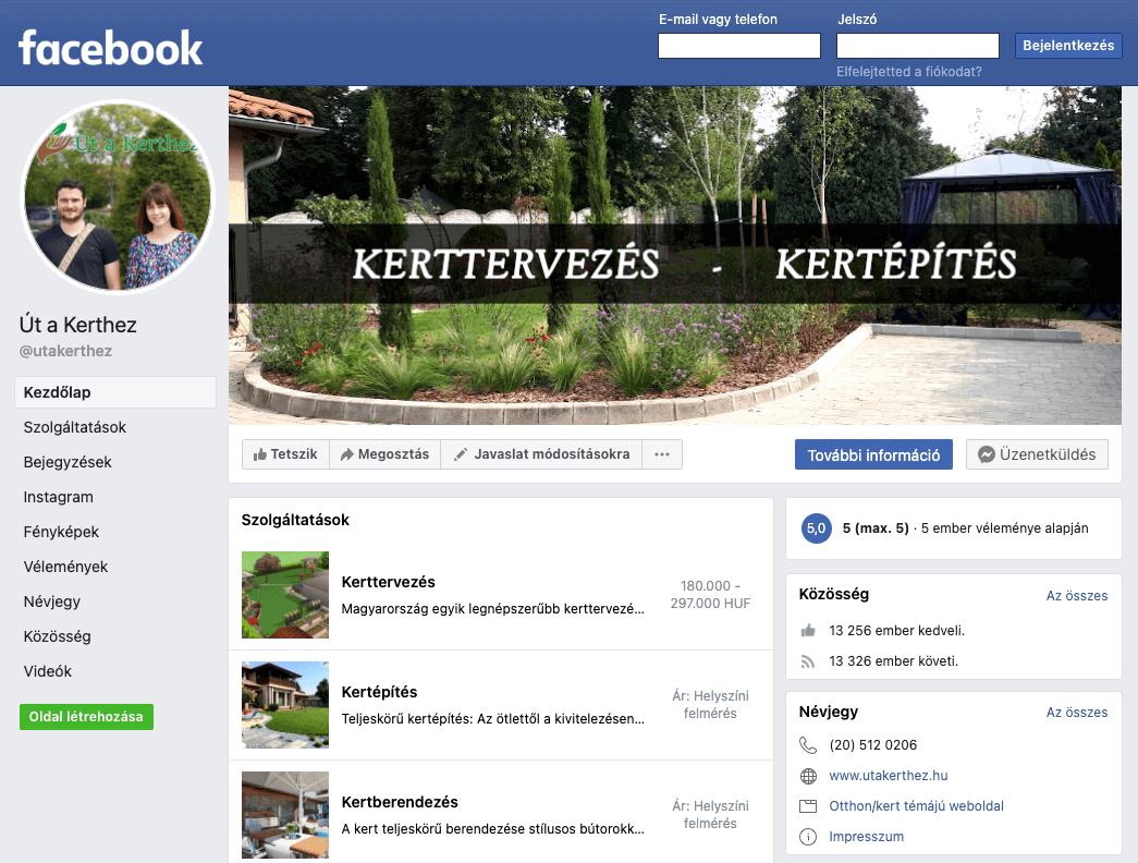 Facebook oldal kielemzése